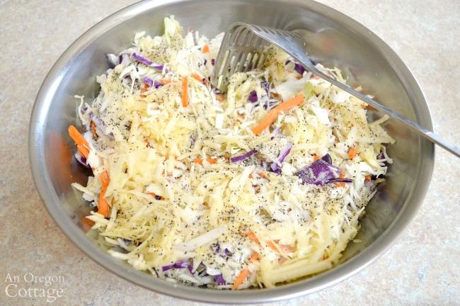 mixing mild sauerkraut