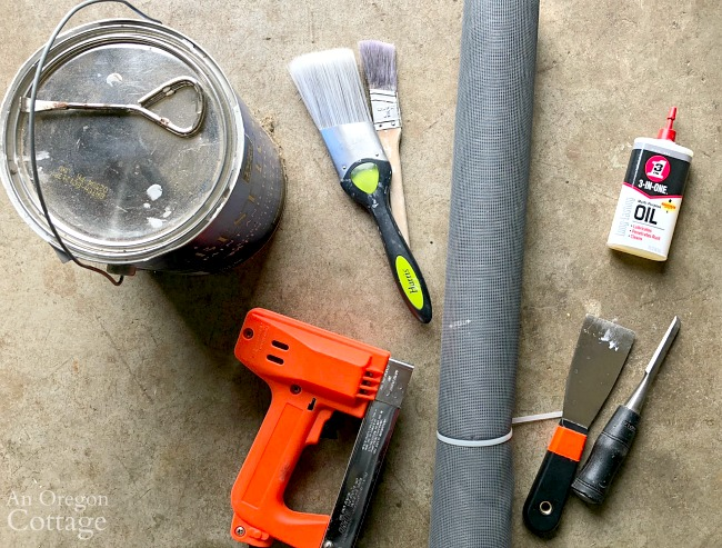 Supplies for vintage screen door restoration