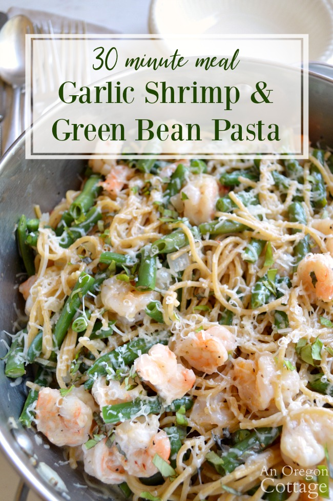 Garlic Shrimp and Green Bean Pasta