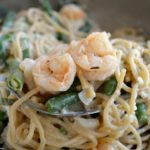 Garlic Shrimp and Green Bean Pasta on spoon