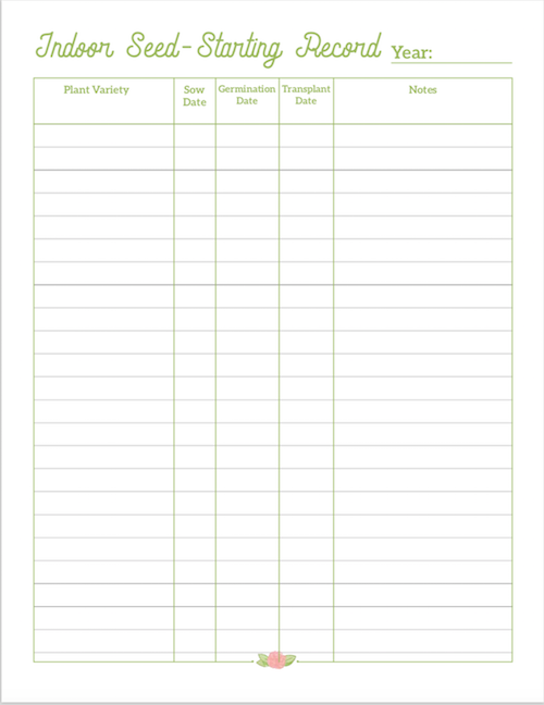 garden notebook Seed Starting Record page