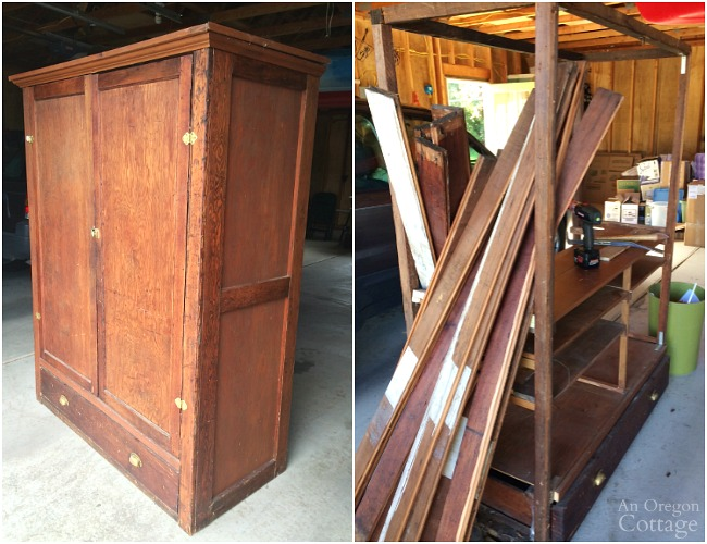 Antique Wardrobe before and during