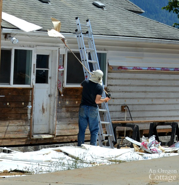 Brian using ladder to remove siding