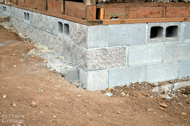 Finished block foundation