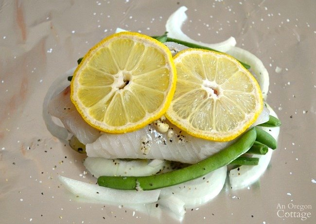 Lemon Vegetable Fish Foil Packets with lemon