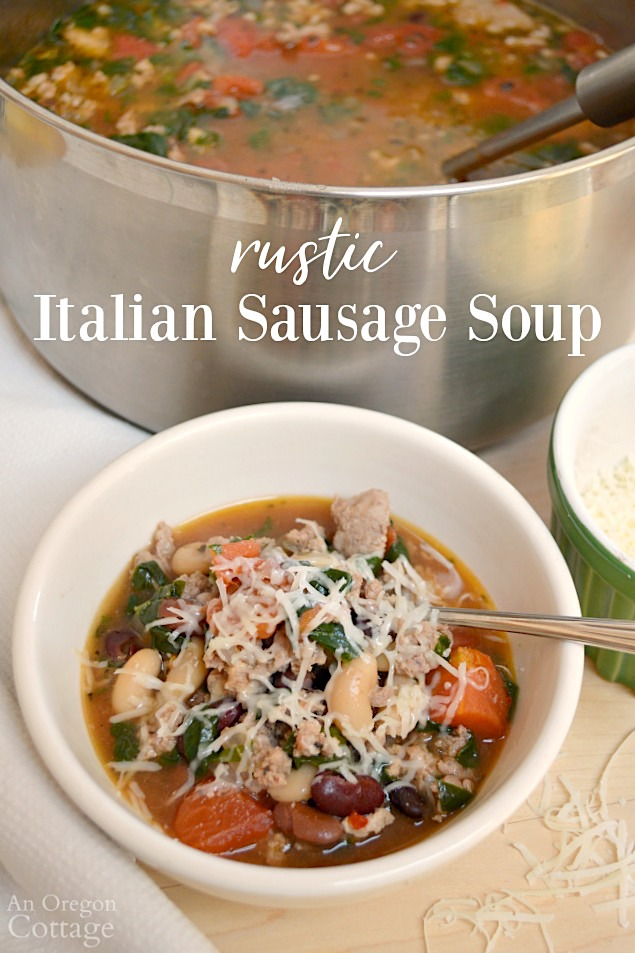 Rustic Italian Sausage Soup-Eat at Home Tonight