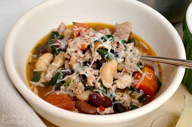 Rustic Italian Sausage Soup in bowl