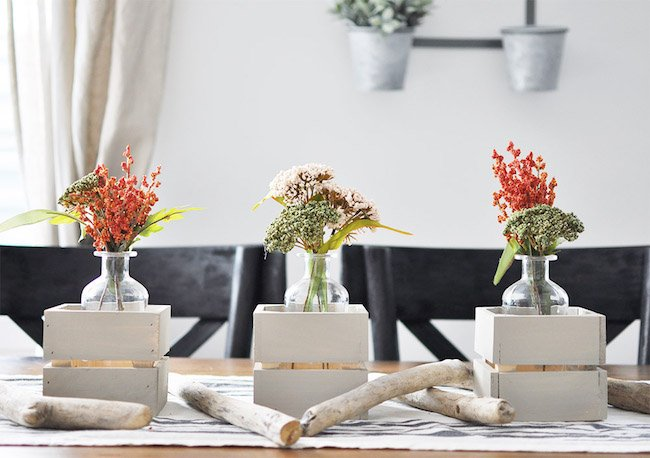 Simple floral + crates centerpiece