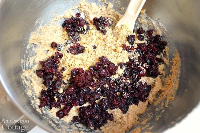 Cranberry Bread Recipe-mixing dough add-ins
