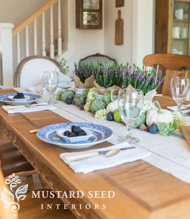 Heather + Vegetables Fall Table at Miss Mustard Seed