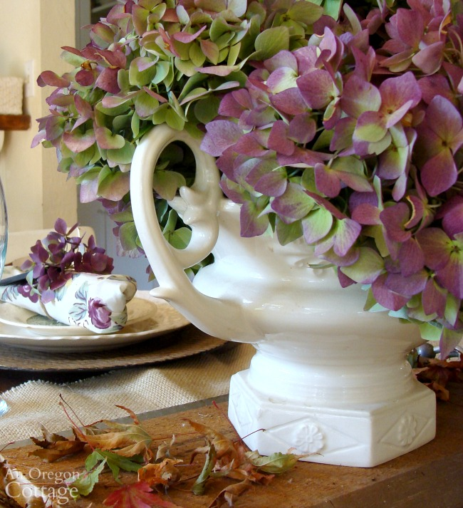 Rustic Purple Hydrangea fall centerpiece