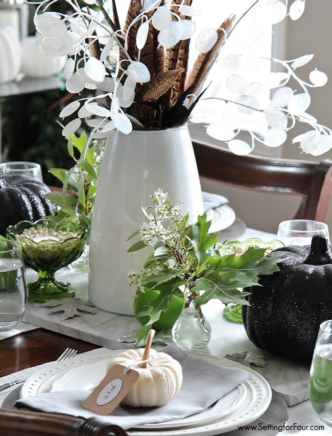 Setting for Four-feather-silver-dollar-fall-centerpiece