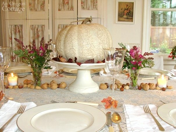 White pumpkin-pink snapdragons Fall Centerpiece