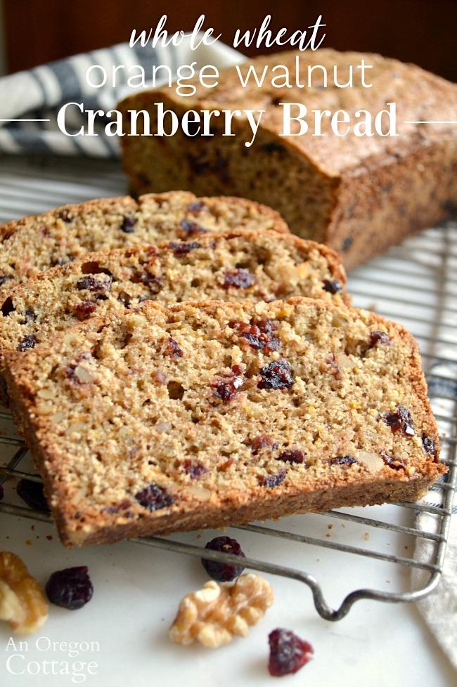 Whole Wheat Orange Walnut Cranberry Bread Recipe