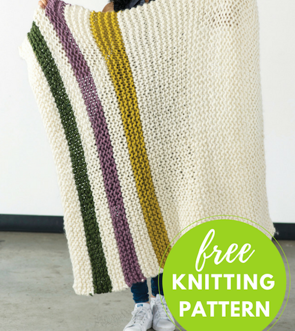 Knitted Striped Blanket Free Knitting Pattern