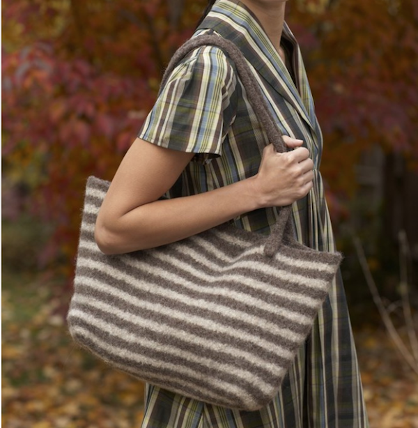 Free Knitting Pattern for Gifts-Felted Wool Tote Bag-Love Knitting