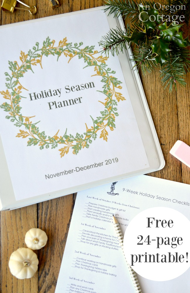 Free Holiday season planner printable