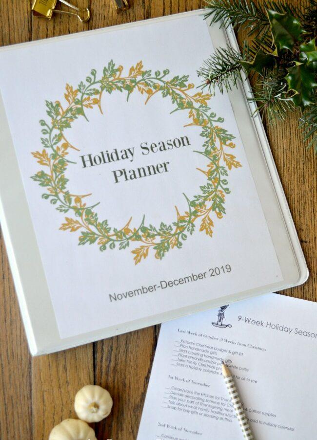 Holiday season planner binder cover