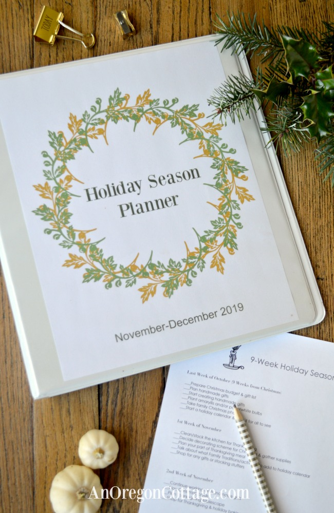 Holiday season planner binder cover