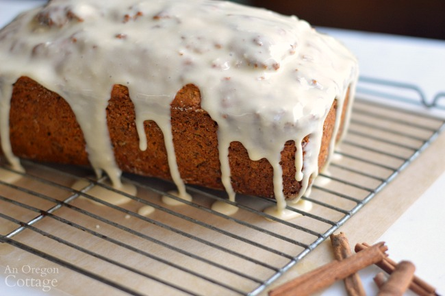 Spiced Carrot Bread Recipe-glaze on rack