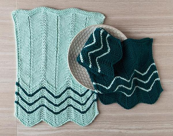 Knitted chevron towel-dishcloth at Knitpicks