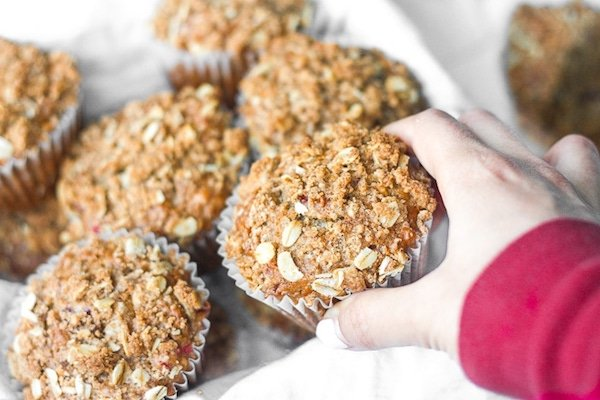 Grabbing a Leftover cranberry sauce muffins with streusel