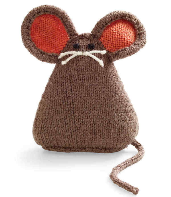 lionbrand knitted mouse toy-Martha Stewart