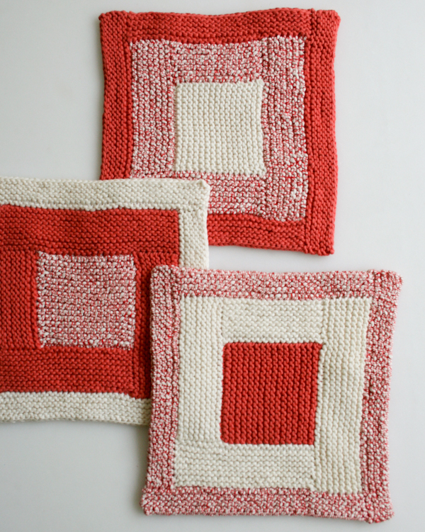 Knitted Gift-log-cabin-washcloths from Purl Soho