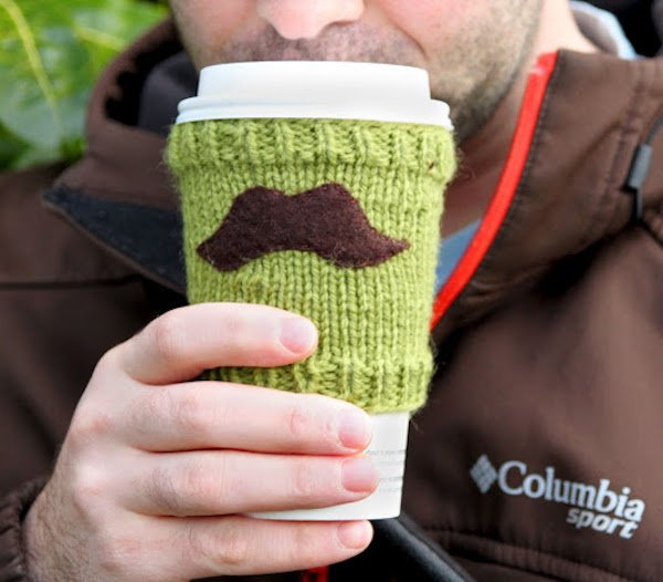 Free Knitting Patterns-mustache cup cozy-Very Shannon