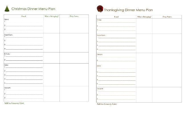 new holiday menu plans in planner