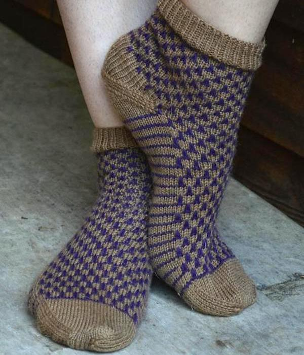 Knitted purple cork socks-Craftsy
