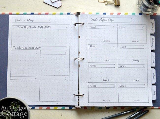 2019 Flexible Planner-goals page