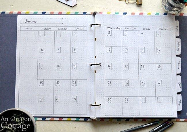2019 Flexible Planner-monthly calendar