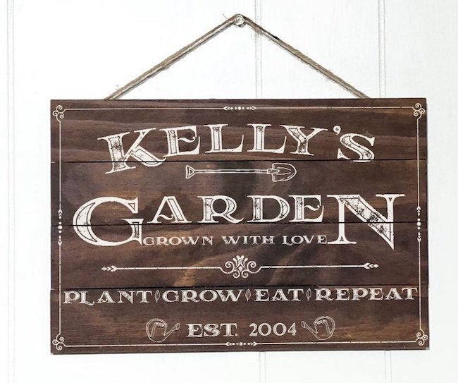 Rustic Wood Garden Pallet Sign with Custom Name & Established Year