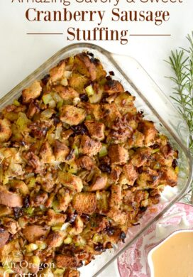 savory sweet cranberry sausage stuffing pin
