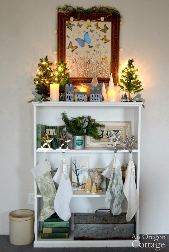 Green-Buffalo plaid Christmas Decor-bookshelf mantel