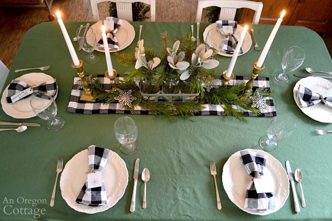Green-Buffalo plaid Christmas Decor-dining table
