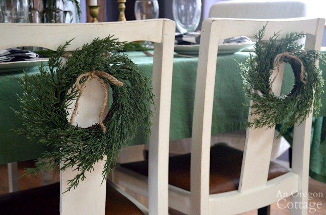 Green-Buffalo plaid Christmas Decor-faux cedar chair wreaths