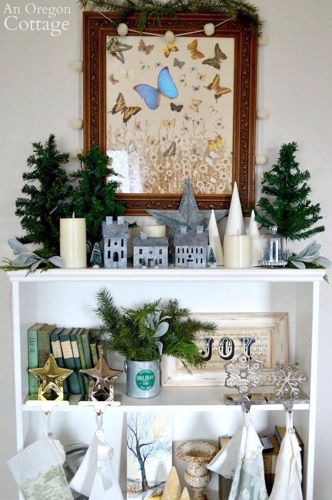 Green-Buffalo plaid Christmas Decor-unlit bookshelf mantel