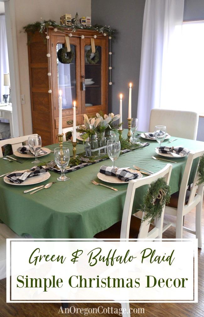 Green and Buffalo Plaid Simple Christmas Decor