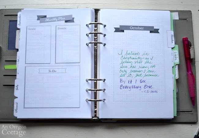 Using The Flexible Planner-month page quote