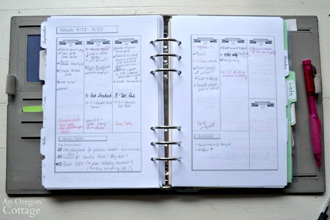 Using The Flexible Planner-weekly checklist