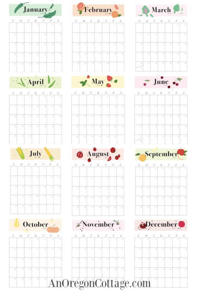All Months of Printable Monthly Calendar