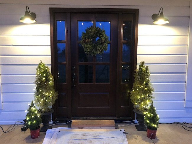 Farmhouse porch at Christmas