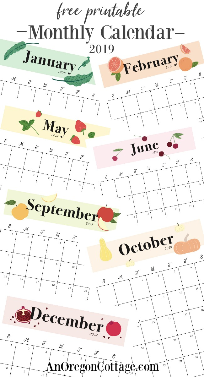 Free Printable Monthly Calendar 2019 Seasonal Fruits