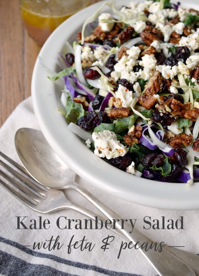 Kale Cranberry Salad with feta and pecans