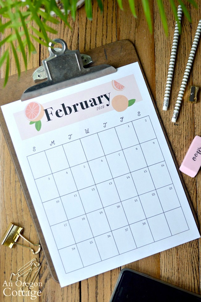2019 Monthly Calendar Printable on clipboard