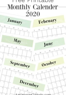 free printable 2020 calendar pages