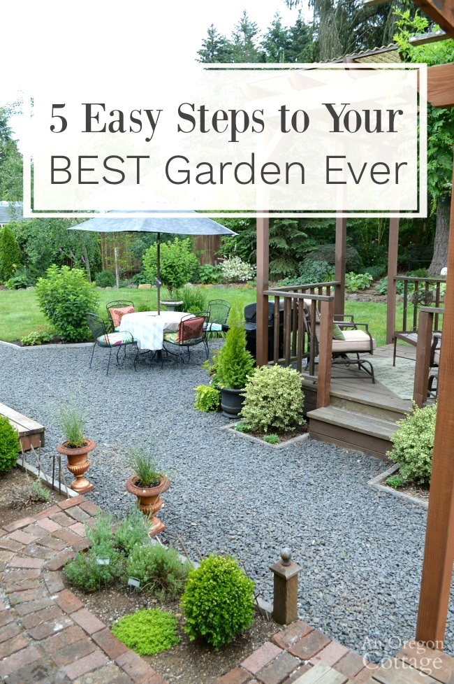 Gravel patio backyard garden