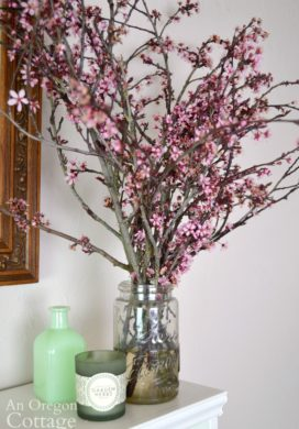Spring Decor Refresh-flowering cherry branches mantel